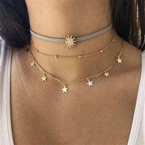 Jewelry - 4/$25 3 Layers BOHO Sun & Stars Choker Necklace